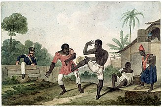 Capoeira - Painting of fighting in Brazil c. 1824 by Augustus Earle