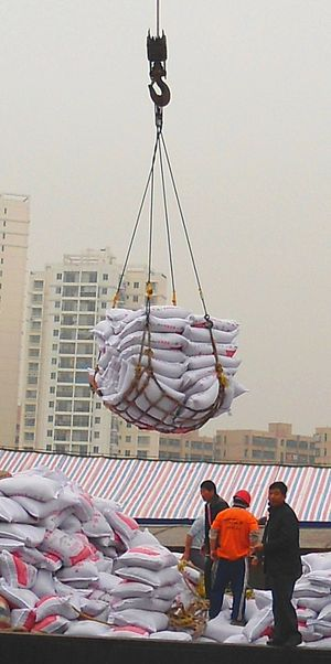Cargo net - A cargo net being used to unload sacks from a ship at Haikou New Port, Haikou City, Hainan, China.