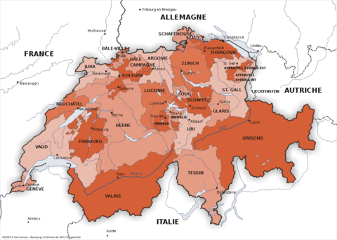 The Swiss Confederation and its 26 cantons. Carte suisse2.png