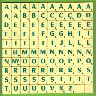 Scrabble letter distributions - A full Catalan-language set.