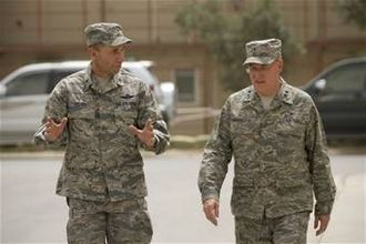 Cecil R. Richardson - With Brig Gen Mike Holmes, during Richardson's first visit to Bagram Airbase Afghanistan since taking over as Air Force Chief of Chaplains.