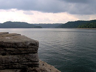 Edgar Evins State Park - Center Hill Lake, viewed from a limestone bluff near the primitive campground