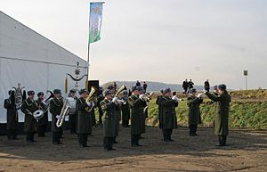 Highway M10 (Ukraine) - Performance of military band during the official motorway foundation-stone laying ceremony