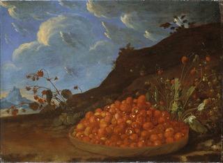 Basket of Wild Strawberries in a Landscape