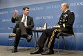 Chairman of the Joint Chiefs of Staff U.S. Army Gen. Martin E. Dempsey, right, hosts a question and answer session with Peter W. Singer, the director of the Center for 21st Century Security and Intelligence 130627-D-VO565-004.jpg