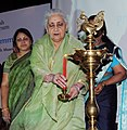 Chandresh Kumari Katoch lighting the lamp to inaugurate the Leadership Training Programme for in-service museum professionals, organised by National Culture Fund, in New Delhi. The Secretary, Minister of Culture.jpg