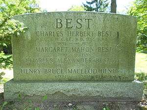 Charles Best (medical scientist) - The gravestone of Best (section 29) in Mt. Pleasant Cemetery