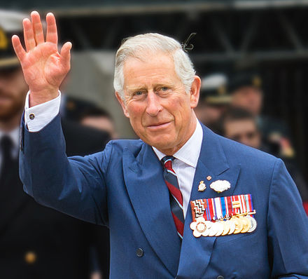 Charles, Prince of Wales, in Halifax, Nova Scotia, in 2014. Charles is the heir apparent to the Canadian throne. CharlesinCanada2014 derivative.jpg