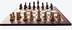Chess board with chess set in opening position 2012 PD 05.jpg