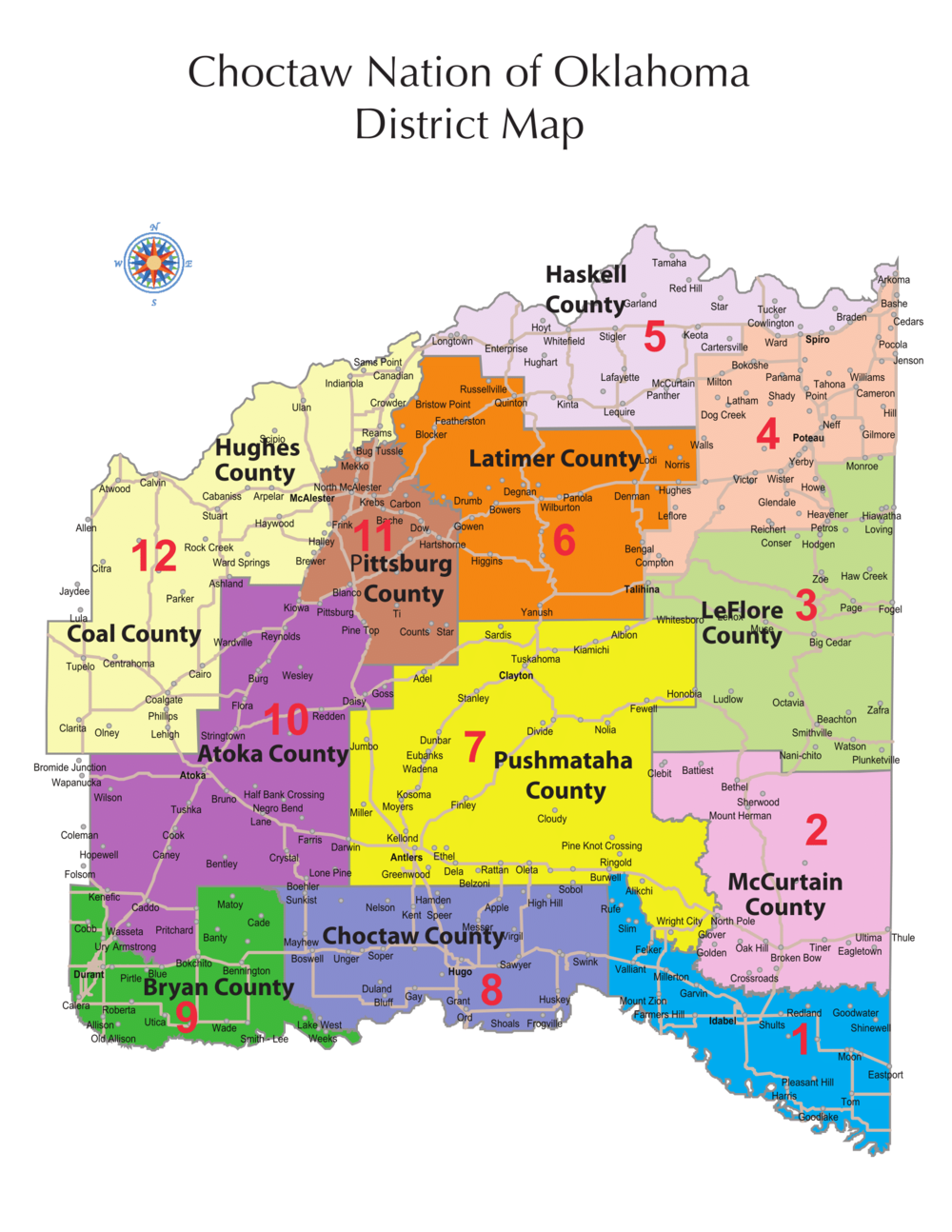 Current district map of the Choctaw Nation of Oklahoma. Choctaw Nation District map.png