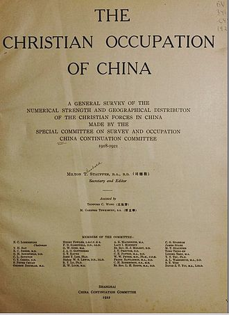The Christian Occupation of China - Title page