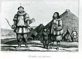 Chukchi couple and child standing in front of skin dwellings, Bering Sea region, Russia, between 1816 and 1817 (AL+CA 8208).jpg