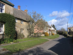 A line of cottages, some thatched, along a road.