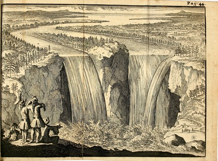 Father Louis Hennepin is depicted in front of the falls in this 1698 print. Chutes du Niagara par Hennepin.tiff