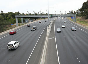 Highway systems by country - The Tullamarine Freeway showing toll gantries in Melbourne, Australia.