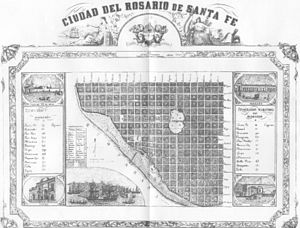 Rosario, Santa Fe - Map of the city of Rosario circa 1877