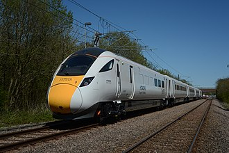 Railway electrification in Great Britain - A Hitachi Super Express, for use on some of the newly electrified lines, being tested in 2015