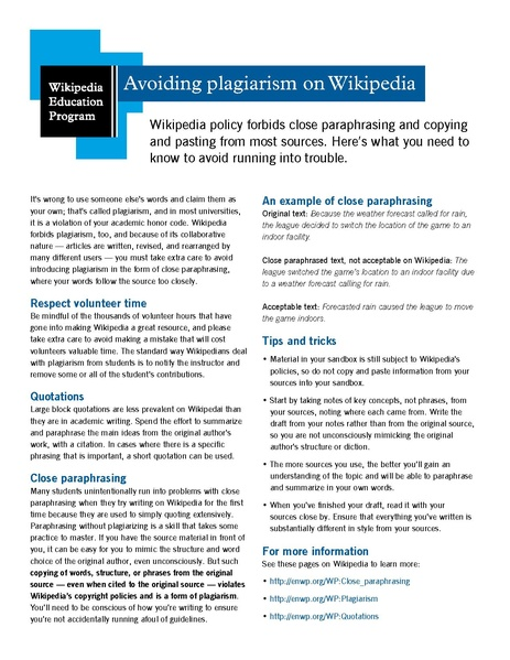 File:Classroom handout - Avoiding plagiarism on Wikipedia.pdf