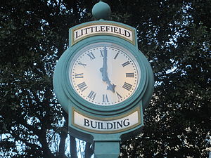 George W. Littlefield - Decorative clock outside the Littlefield Building