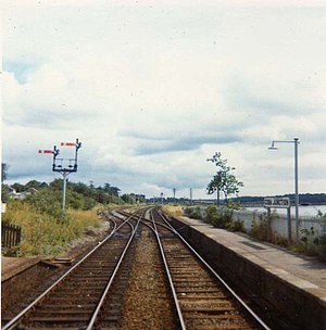 Glounthaune railway station - Cobh Junction in 1973 with the line to Youghal on the left.
