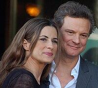 Colin Firth e la moglie Livia Giuggioli alla cerimonia per ricevere la stella della Hollywood Walk of Fame nel 2011