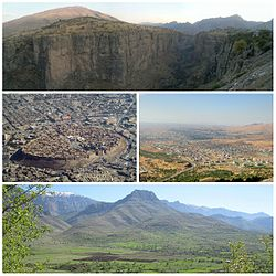 Clockwise, from top: Canyon in Rawandiz, Koy Sanjaq, Shaqlawa and Citadel of Erbil