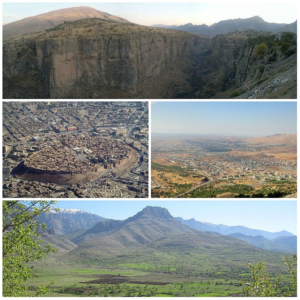 Clockwise, from top: Canyon in Rawandiz, Koy Sanjaq, Shaqlawa and Citadel of Erbil