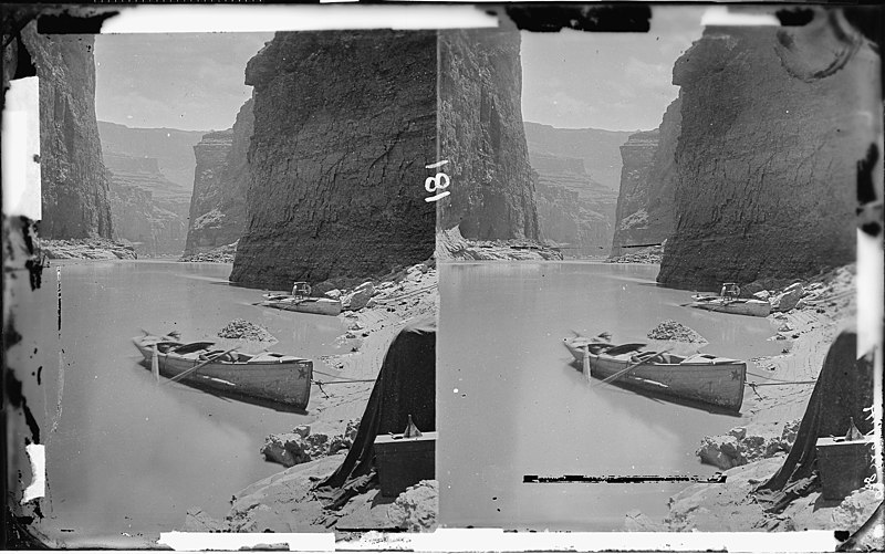 File:Colorado River. Marble Canyon, 1872. Shows two boats anchored, one with Major Powell's chair with the two life... - NARA - 518002.jpg
