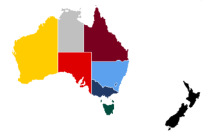 Map of Australia & New Zealand with each state / territory shaded in its cricket team's main colour. Coloured map of Australia and New Zealand.png
