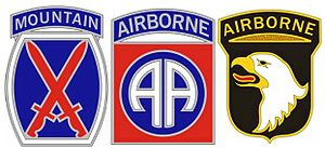 Combat Service Identification Badge -  Example of Combat Service Identification Badges for the 10th Mountain Division, 82nd Airborne Division and 101st Airborne Division