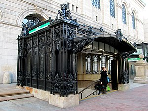 Copley (MBTA station) - The ornate inbound headhouse next to the McKim Building