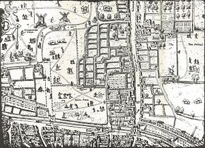 "Bird's-eye view - Part of the ""Copperplate"" map of London, surveyed between 1553 and 1559, depicting a bird's-flight view of the Moorfields area"