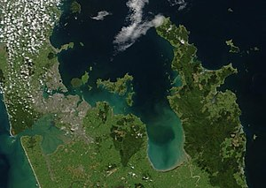 Hauraki Gulf - True-colour image showing Auckland (left), the Hauraki Gulf (centre) and the Coromandel Peninsula (right), by NASA's Terra satellite, 2002.