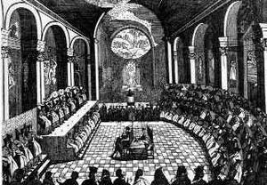 Catholic ecumenical councils - A session of the Council of Trent, from an engraving.