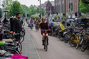 Cycling - Along the Fietspad in Amsterdam, safe from traffic.