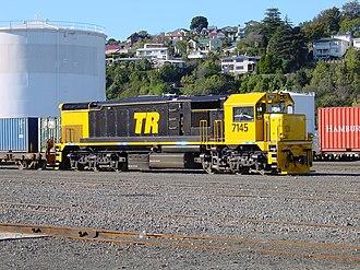 New Zealand DF class locomotive (1979) - DFT 7145 in Ahuriri Yard, Napier - 8 June 2003