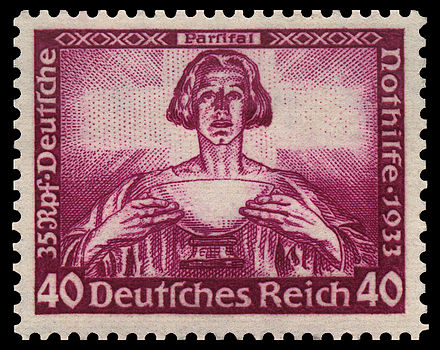 German stamp showing Parsifal with the Grail, November 1933 DR 1933 507 Nothilfe Wagner Parsifal.jpg