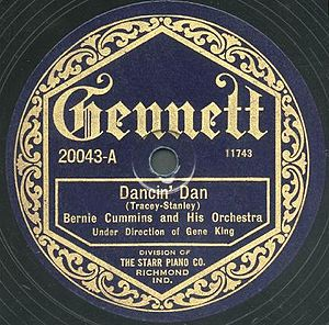 "Bernie Cummins - Label on Bernie Cummins' recording of ""Dancin' Dan"" on Gennett"