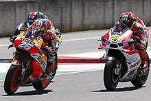 Iannone e Pedrosa durante il Gran Premio d'Italia 2016
