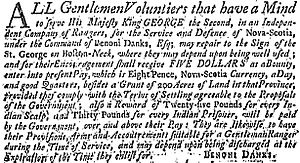 Danks' Rangers - Danks Rangers 1757 Recruitment Advertisement. Boston News-Letter 18 Nov. 1757