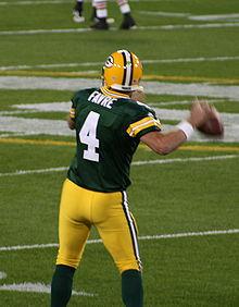 Packers grote Brett Favre, drie keer All-Pro, drie keer NFL MVP en Super Bowl XXXI kampioen in zijn 16 jaar in Green Bay