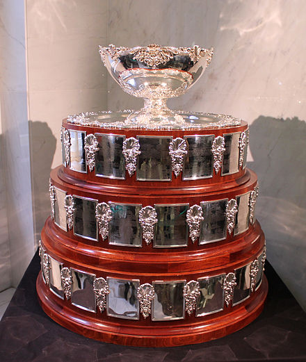 Davis Cup trophy exposed in the Český rozhlas headquarters, Prague-Vinohrady, 2012