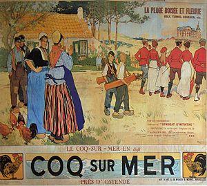"""De Haan, Belgium - Poster """"« Le Coq-sur-Mer » by Henri Cassiers (1898)"""