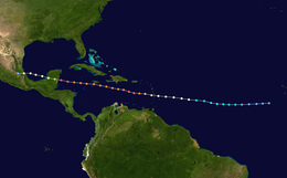 A map showing the track of a tropical cyclone as represented by colored dots. Each dot represents the position of the hurricane at six-hour intervals, and each color represents a different intensity.