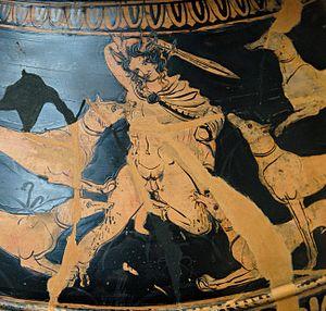 Xiphos - Actaeon holding a xiphos.