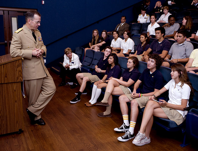 File:Defense.gov photo essay 080919-N-0696M-191.jpg Description English: Navy Adm. Mike Mullen, chairman of the Joint Chiefs of Staff, speaks with Notre Dame High School student council leadership during a visit to his high school alma mater, Sept. 19, 2008.