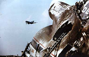 Delta Air Lines Flight 191 - The wreckage of Flight 191's tail section, a Lockheed L-1011 TriStar.