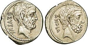Gaius Servilius Ahala - A Roman denarius struck by Brutus, who claimed descent from Servilius Ahala, c. 54 BC