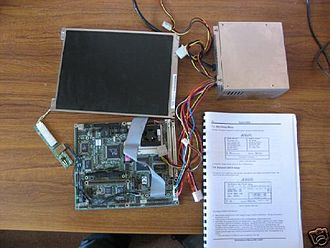 Single-board computer - A socket 3 based 486 SBC with power supply and flatscreen