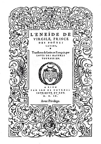 Jean de Tournes - Title-page of the Aeneid of Vergil, translated into French by Louis des Masures, published by Jean de Tournes in 1552